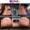 5x Tan PU Leather Car Floor Mats Feet Carpet Pad Waterproof Accessories From USA