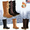 Womens Mid Calf Lace Up Snow Boots Winter Fur Lined Army Combat Biker Shoes Size