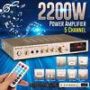 Sunbuck 2200W HiFi bluetooth Power Amplifier 5 Channel Stereo Home Audio Amp