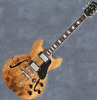 New FF338 Spalted Maple Semi-Hollow body Electric Gutiar(Natural Color)