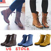 US WOMENS ANKLE BOOTS COMBAT ARMY MILITARY BIKER FLAT LACE UP ZIP SHOES SIZE 6-9