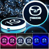 2× Colorful LED Car Cup Holder Pad Mat Auto Interior Atmosphere Light For Mazda