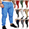 Men's Slim Fit Urban Jogger Cargo Straight Leg Trousers Casual Pencil Pants