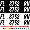 Custom Boat Registration Numbers Jet Ski Letters Decals Set of 2 3