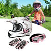 TCMT Youth Pink Butterfly Dirt Bike ATV MX Helmet Motocross+Goggles+Gloves S~XL