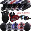 DOT Adult Motocross ATV Dirt Bike MX Off Road Helmet + Goggles + Gloves S M L XL