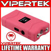 VIPERTEK Stun Gun Mini PINK VTS-880 335 BV Rechargeable LED Flashlight