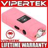 VIPERTEK Stun Gun Micro Mini PINK VTS-881 390 BV Rechargeable LED Flashlight