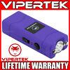 VIPERTEK Stun Gun Micro Mini PURPLE VTS-881 390 BV Rechargeable LED Flashlight