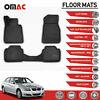 Floor Mats Liner 3D Molded Black Fits BMW 3 Series E90 Sedan 2006-2011
