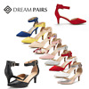 DREAM PAIRS Wome Low Stilettos Heel Pump Shoes Ankle Strap Pointed Toe Shoes