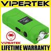 VIPERTEK Stun Gun Micro Mini GREEN VTS-881 390 BV Rechargeable LED Flashlight