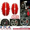4Pcs 3D Style Car Disc Brake Caliper Cover Front & Rear Kit Universal RED M+S