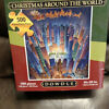 """DOWDLE """"CHRISTMAS AROUND THE WORLD"""" COMPLETE 500 PIECE PUZZLE IN COLLECTORS BOX"""