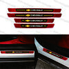 4x CHEVROLET Red Carbon Fiber & Rubber Car Door Welcome Plate Sill Scuff Panel