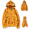 Bape A Bathing Ape Shark Head Orange Camo Hoodie Hooded Jacket Full Zipper Coat