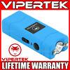VIPERTEK Stun Gun Micro Mini BLUE VTS-881 390 BV Rechargeable LED Flashlight