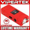 VIPERTEK Stun Gun Micro Mini RED VTS-881 390 BV Rechargeable LED Flashlight