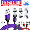 3A 360°/180° Fast Magnetic Cable Type C Micro USB Charger Cord For Android Phone