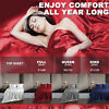 Luxury Bed Sheet Comfort Cooling Deep Flat Simulated Silk Beding King /Queen
