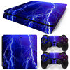 PS4 Slim Skin Console & 2 Controllers Thunder Lightning Decal Vinyl Wrap