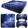PS4 Slim Skin Console & 2 Controllers Blue Space Vinyl Decal Wrap