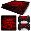 PS4 Slim Skin Console & 2 Controllers Red Skull Vinyl Decal Wrap