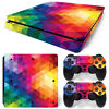PS4 Slim Skin Console & 2 Controllers Neon Triangle Vinyl Decal Wrap