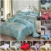 Luxury Jacquard Silk Satin Duvet Quilt Cover 4 PCS Bedding Set Double King Size