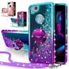 For Google Pixel 2 2XL Case Glitter Liquid Protective Phone Cover+Ring Stand