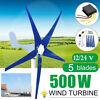 500W Wind Turbine Generator 5 Blade w/ Controller Low Wind Speed Starting 12/24V