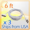 3 X 6FT 30 PIN USB DATA SYNC POWER CHARGER CABLE WHITE IPHONE 4S IPAD IPOD TOUCH